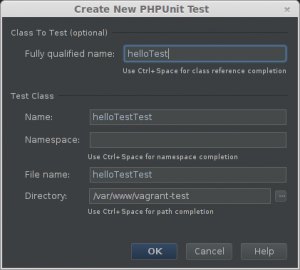 PHPStorm create test window